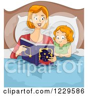 Clipart Of A Mother Reading A Bedtime Story With Her Daughter Royalty Free Vector Illustration