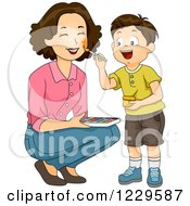 Clipart Of A Boy Painting His Mothers Face Royalty Free Vector Illustration by BNP Design Studio