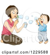 Clipart Of A Mother And Son Blowing Bubbles Royalty Free Vector Illustration