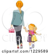 Clipart Of A Rear View Of A Mom Walking Her Daughter To School Royalty Free Vector Illustration