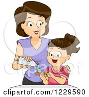 Clipart Of A Mom Putting Toothpaste On Her Daughters Brush Royalty Free Vector Illustration