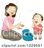 Clipart Of A Mom Potty Training Her Son Royalty Free Vector Illustration by BNP Design Studio