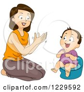 Clipart Of A Mom Clapping And Potty Training Her Daughter Royalty Free Vector Illustration by BNP Design Studio