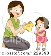 Clipart Of A Mom Giving Her Daughter Big Girl Panties Royalty Free Vector Illustration by BNP Design Studio