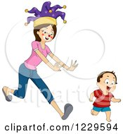 Clipart Of A Mother Dressed As A Clown Chasing Her Son Royalty Free Vector Illustration