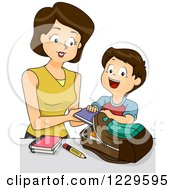 Clipart Of A Mother Helping Her Son Load His Backpack Royalty Free Vector Illustration by BNP Design Studio