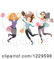 Clipart Of A Group Of Teenage Girls Jumping Royalty Free Vector Illustration by BNP Design Studio