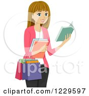 Clipart Of A Teenage Girl Book Shopping Royalty Free Vector Illustration