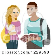 Clipart Of A White Teenage Girl And Black Guy Sharing Books Royalty Free Vector Illustration
