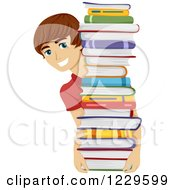 Clipart Of A Teenage Boy Holding And Looking Around A Stack Of Books Royalty Free Vector Illustration