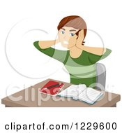 Clipart Of A Frustrated Boy Covering His Ears And Trying To Study Royalty Free Vector Illustration