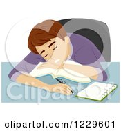 Clipart Of A Teenage Boy Sleeping On A Book Royalty Free Vector Illustration