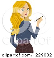 Clipart Of A Blond Teenage Girl Looking Back And Holding A Pen Royalty Free Vector Illustration