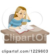 Clipart Of A Teenage Girl Doing Homework At A Desk Royalty Free Vector Illustration