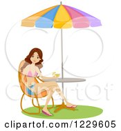 Clipart Of A Teenage Girl With A Drink Sitting In A Bikini Top At A Beach Table Royalty Free Vector Illustration by BNP Design Studio