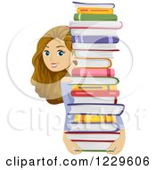 Clipart Of A Teenage Girl Carrying And Looking Around A Stack Of Books Royalty Free Vector Illustration