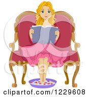 Clipart Of A Teeage Girl Reading A Book And Soaking Her Feet Royalty Free Vector Illustration