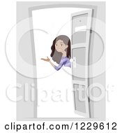 Clipart Of A Welcoming Black Tenage Girl At An Open Door Royalty Free Vector Illustration by BNP Design Studio