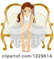 Clipart Of A Teenage Girl Showing Her Manicure And Pedicure Royalty Free Vector Illustration