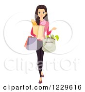 Clipart Of A Teenage Girl Carrying Grocery Bags Royalty Free Vector Illustration by BNP Design Studio