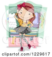 Clipart Of A Fashionable Teen Girl By A Wadrobe Royalty Free Vector Illustration