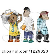 Clipart Of African American Teenagers Royalty Free Vector Illustration by BNP Design Studio