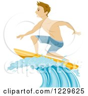Clipart Of A Teenage Boy Surfing On A Wave Royalty Free Vector Illustration