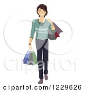 Clipart Of A Teenage Boy Carrying Shopping Bags Royalty Free Vector Illustration