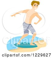 Clipart Of A Teenage Boy Skimboarding On A Beach Royalty Free Vector Illustration