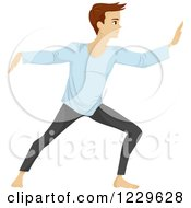 Clipart Of A Teenage Boy Doing Tai Chi Royalty Free Vector Illustration