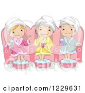 Clipart Of Happy Teenage Girls Soaking Their Feet At A Spa Royalty Free Vector Illustration