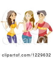 Clipart Of A Teenage Boy And Two Girl Talking Royalty Free Vector Illustration by BNP Design Studio