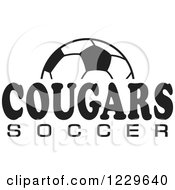 Clipart Of A Black And White Ball And COUGARS SOCCER Team Text Royalty Free Vector Illustration by Johnny Sajem