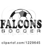 Clipart Of A Black And White Ball And FALCONS SOCCER Team Text Royalty Free Vector Illustration by Johnny Sajem