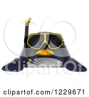 Clipart Of A 3d Chubby Snorkel Penguin Over A Sign Royalty Free Illustration