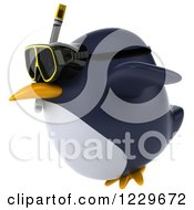 Clipart Of A 3d Chubby Snorkel Penguin Flying 2 Royalty Free Illustration