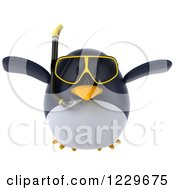 Clipart Of A 3d Chubby Snorkel Penguin Flying Royalty Free Illustration
