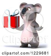 Clipart Of A 3d Koala Mascot Holding A Gift Royalty Free Illustration