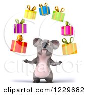 Clipart Of A 3d Koala Mascot Juggling Gifts Royalty Free Illustration