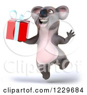 Clipart Of A 3d Koala Mascot Jumping And Holding A Gift Royalty Free Illustration