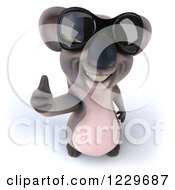 Clipart Of A 3d Koala Mascot Wearing Sunglasses And Giving A Thumb Up Royalty Free Illustration