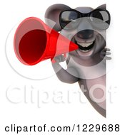 Clipart Of A 3d Koala Mascot Wearing Sunglasses And Using A Megaphone Around A Sign Royalty Free Illustration