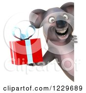 Clipart Of A 3d Koala Mascot Holding A Gift Around A Sign Royalty Free Illustration