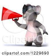 Clipart Of A 3d Koala Mascot Wearing Sunglasses And Using A Megaphone Royalty Free Illustration