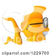Clipart Of A 3d Bespectacled Goldfish Facing Right Royalty Free Illustration