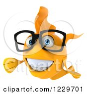 Clipart Of A 3d Presenting Bespectacled Goldfish Royalty Free Illustration