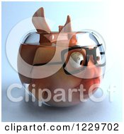 Clipart Of A 3d Bespectacled Fish In A Bowl 2 Royalty Free Illustration