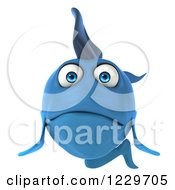 Clipart Of A 3d Sad Blue Fish Royalty Free Illustration
