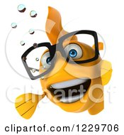 Clipart Of A 3d Bespectacled Goldfish Looking Around A Sign Royalty Free Illustration
