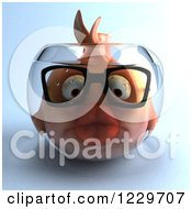 Clipart Of A 3d Bespectacled Fish In A Bowl Royalty Free Illustration